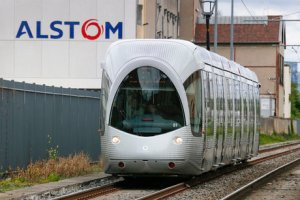 A tramway made by French train maker Alstom drives past the Alstom production site in Villeurbanne