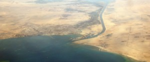 (FILES) A picture dated on December 31, 2007 shows an aerial view of the southern entrance of Egypt's Suez Canal.  Egypt on August 6, 2015 inaugurates a